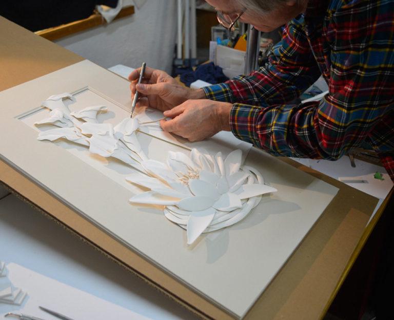 Calvin Nicholls Paper Sculpture - Working on lilies