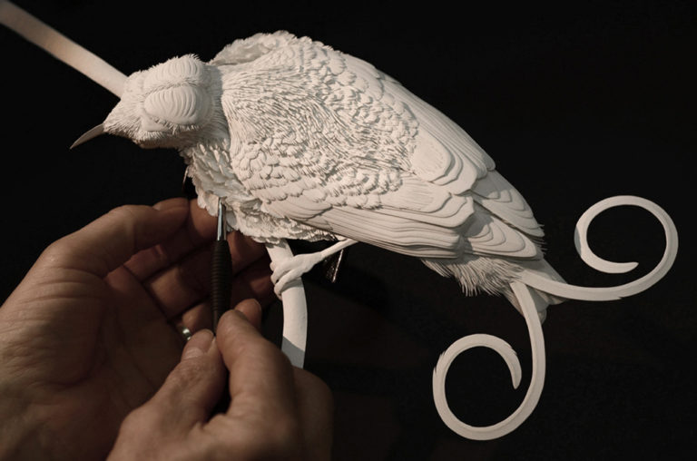 Calvin Nicholls Paper Sculpture - Working on wilson
