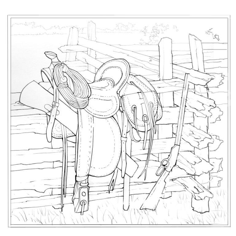 Calvin-Nicholls-Paper-Sculpture-Studio-saddle-sketch