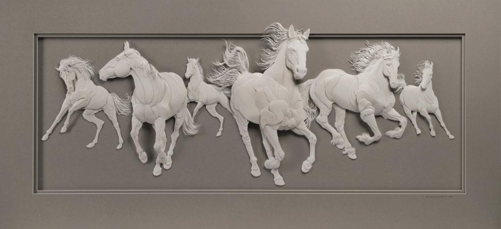 Calvin Nicholls Paper Sculpture Art Horses
