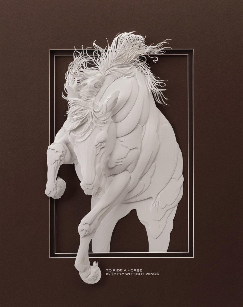 Calvin Nicholls Paper Sculpture Art Horse