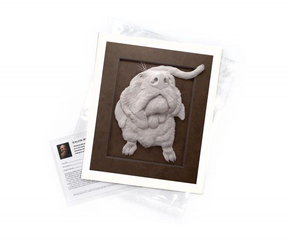 Calvin Nicholls Paper Sculpture Art Flat Print Dog