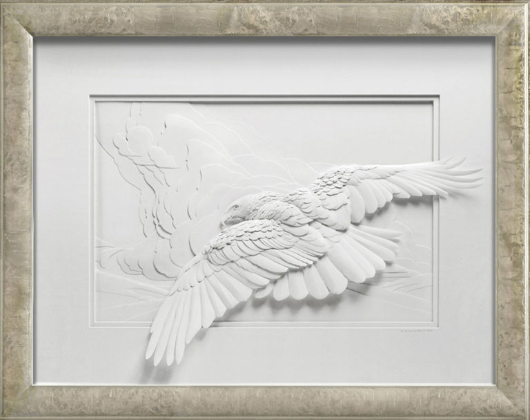 Calvin Nicholls Paper Sculpture Art Flight of Woodson