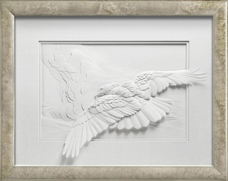 Calvin Nicholls Paper Sculpture Art Flight of Woodson