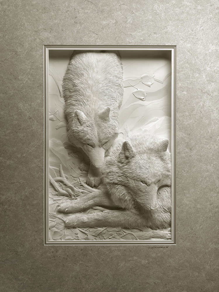 Calvin Nicholls Paper Sculpture Art wolves