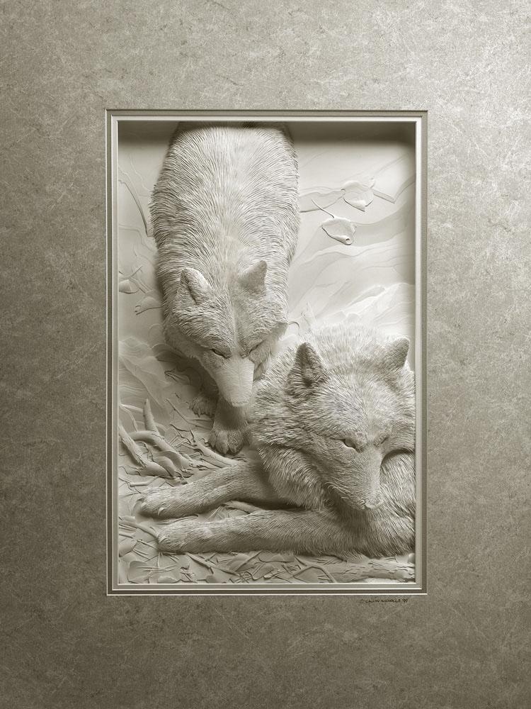 Calvin Nicholls Paper Sculpture Art wolves