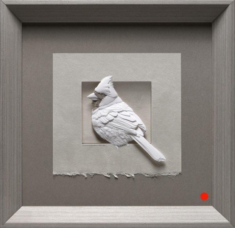 paper sculpture cardinal